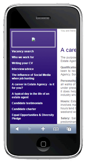 The mobile usability experience on Property Personnel's old website design.