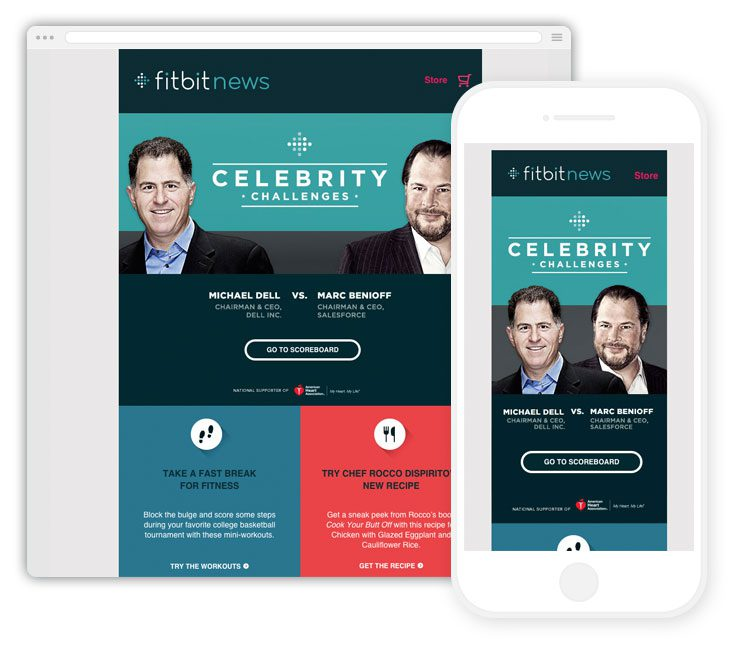 Fitbit's latest celebrity focused email campaign - beautifully blocky!