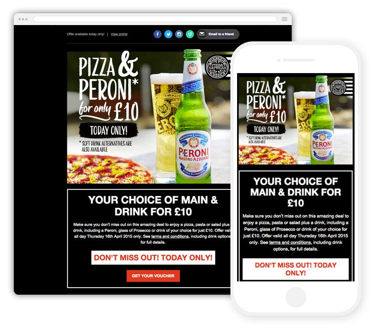 A responsive email campaign from Pizza Express