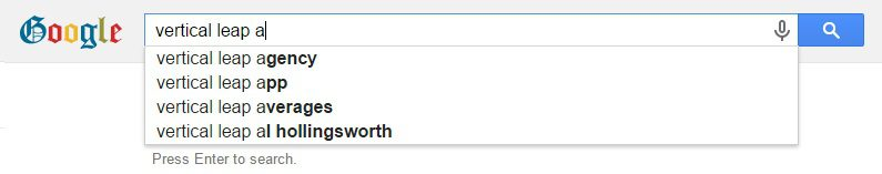 Google auto complete with Vertical Leap search term