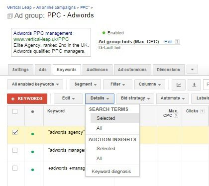 Ad group view in Google's AdWords