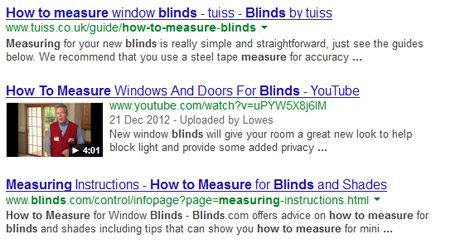 Search engine results screenshot of mixed content types including video
