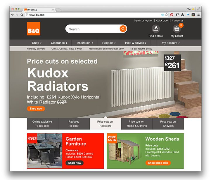 B&Q home page