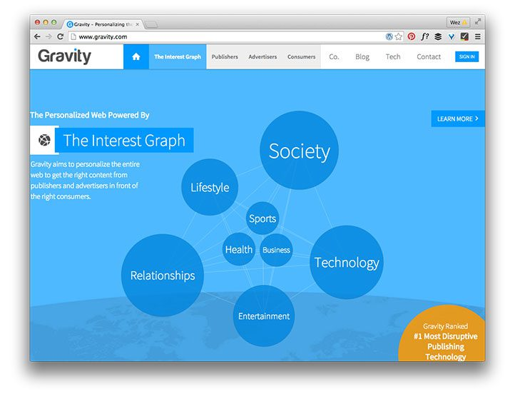 Gravity home page