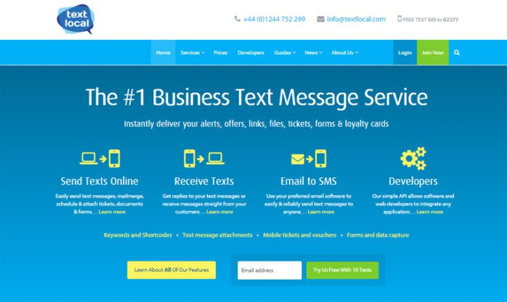Textlocal home page