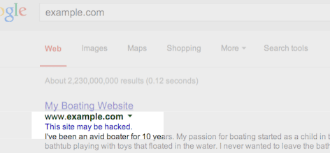 Example of a hacked site in Google results