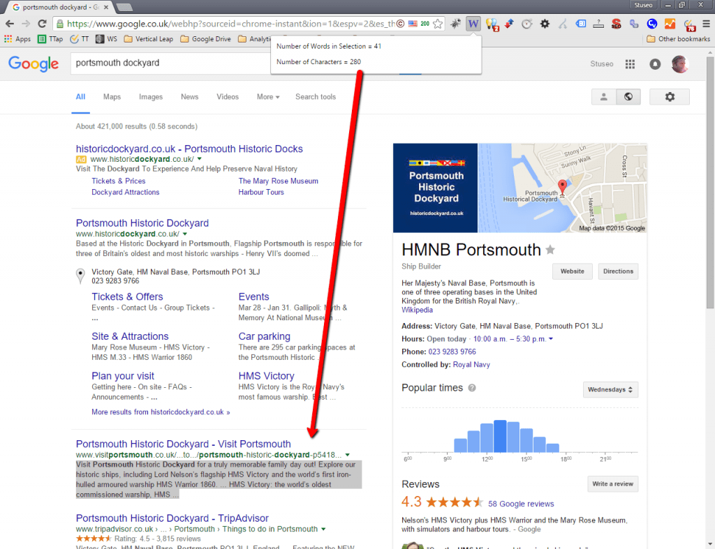Multiple search results with longer meta descriptions