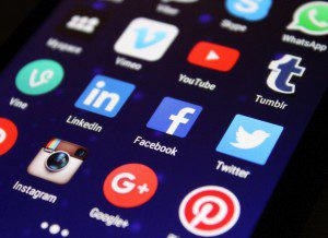 Social media icons on mobile