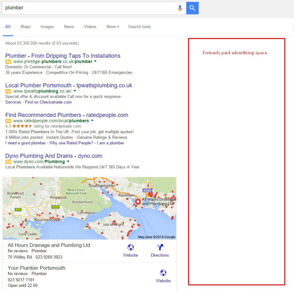 A Google screenshot showing where Google paid ads have been removed in Feb 2016