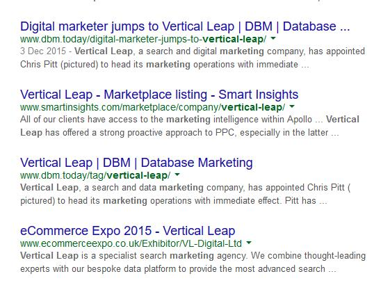 SERP result of Vertical Leap mentions