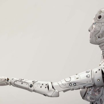 Robot with hand outstretched