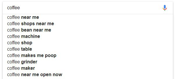 Google suggest with near me searches