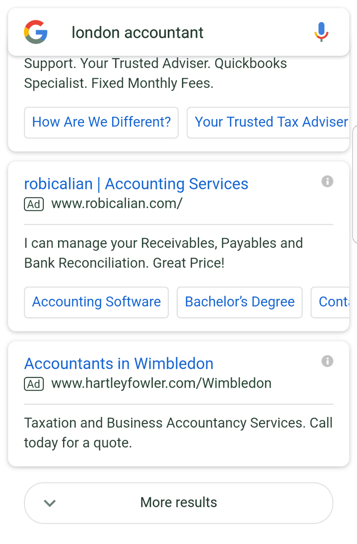 Zoom in of more results button on mobile