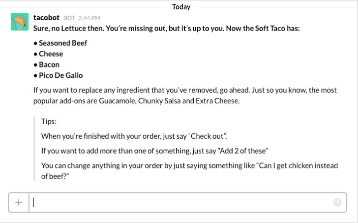 Tacobot chatbot example