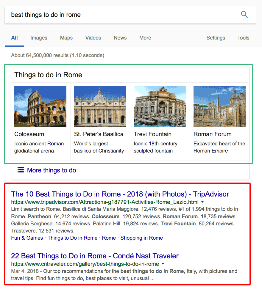 Things to do in Rome Google search result