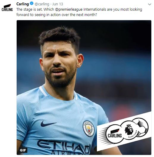 Carling tweet about internationals in action