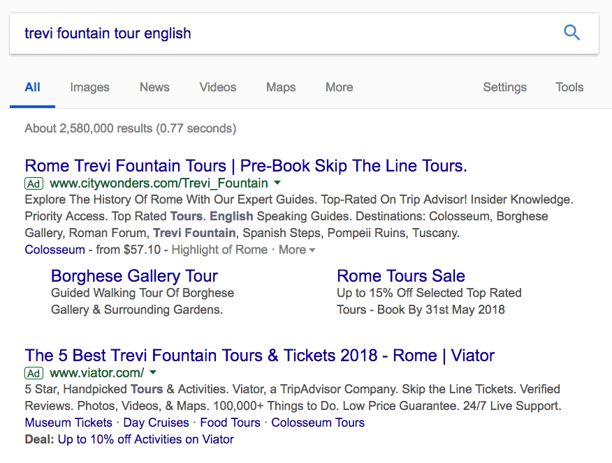 Trevi fountain tour Google search result