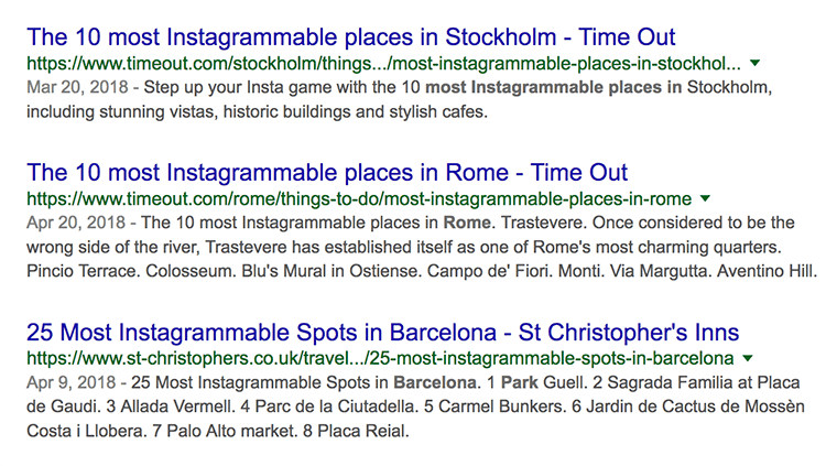 Instagrammable places search