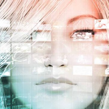 A human face overlaid with a computer grid and multiple screenshots representing big data analytics