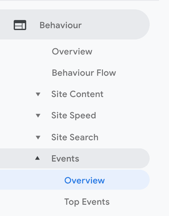 Where to find the Events menu in Google Analytics under Behaviour > Events