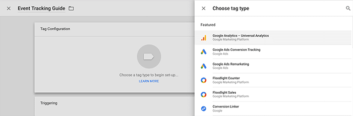 Choose tag type in Google Tag Manager