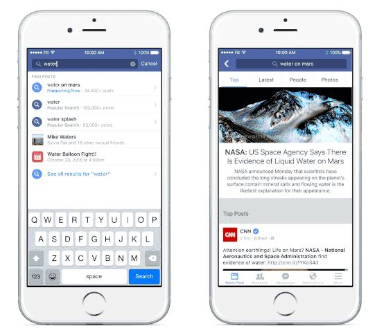 Phones showing Facebook search ads about water on Mars