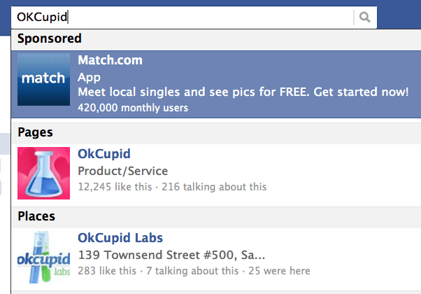 Testing OKcupid search ads on Facebook