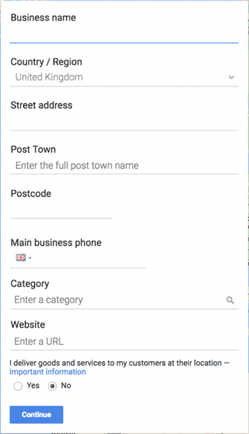 Google My Business account details