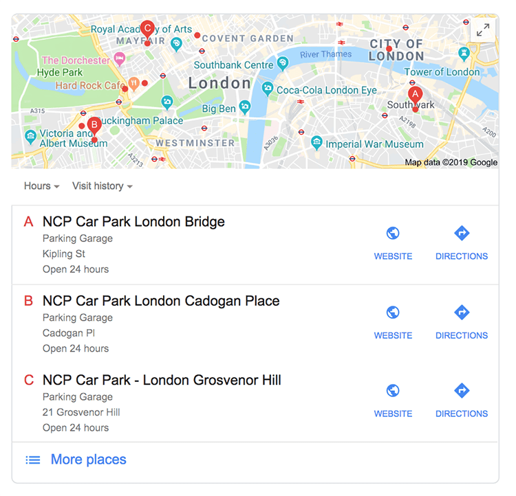 Local search results showing car parks in London