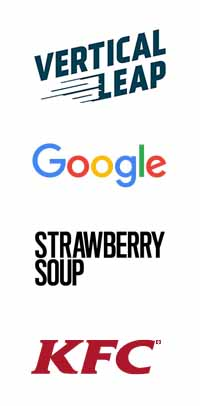 Vertical Leap, Google, Strawberry Soup and KFC logos