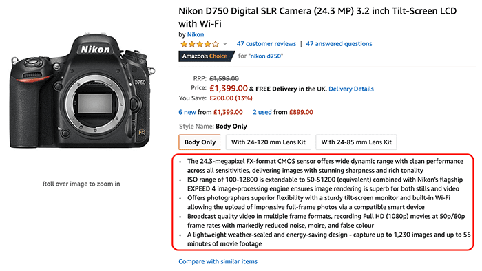 A camera for sale on Amazon with highlighted bullet points on the features of the camera