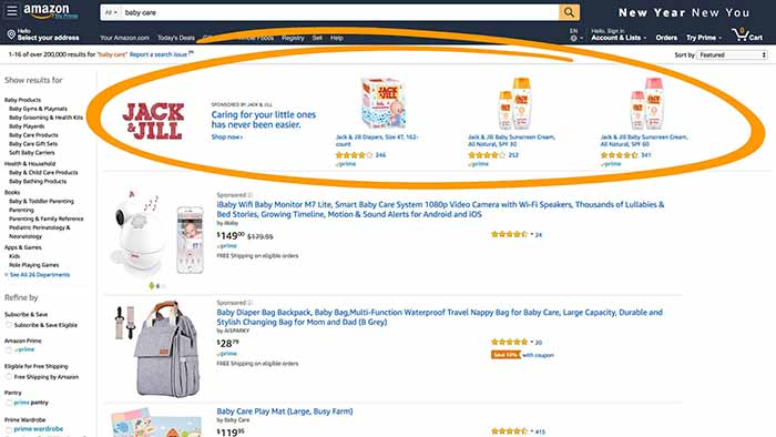Jack & Jill sponsored banner at the top of an Amazon page