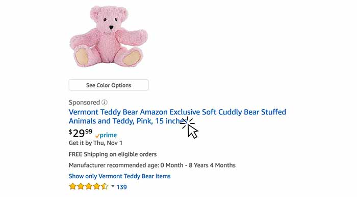 A sponsored link for a teddy bear on Amazon for $29.99