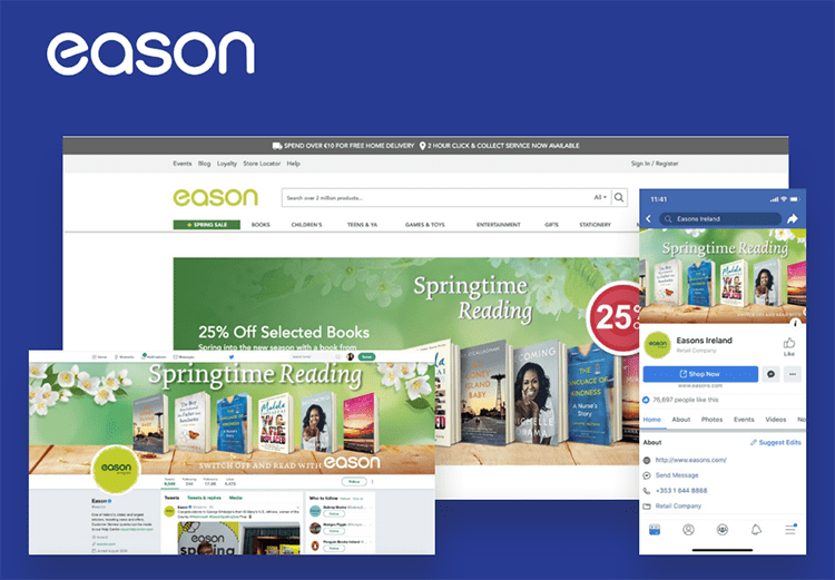 Screen shots from eason website and social media channels showing content
