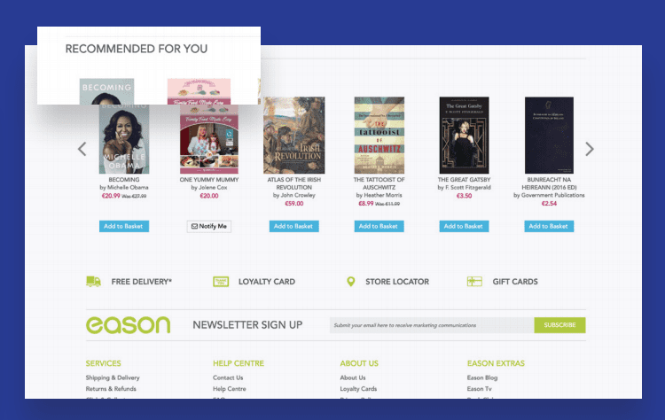 Example of 'recommended for you' on eCommerce website
