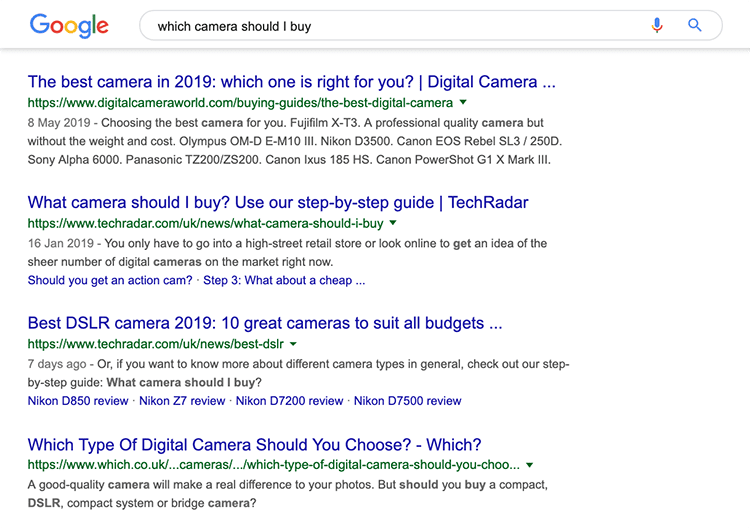 Search results for 'Which camera should I buy?'