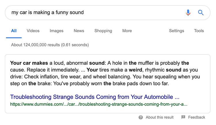search in google for 'my car is making a funny sound'