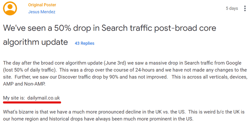 dailymail.co.uk asking for Google visibility drop help