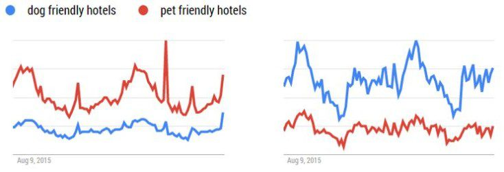 Google Trends search volumes for dog friendly and pet friendly hotels