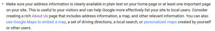 google my business - information about putting in your address