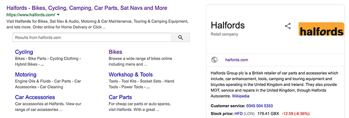 Halfords knowledge graph