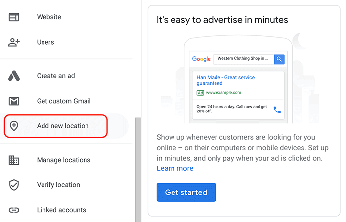 google my business add a new location