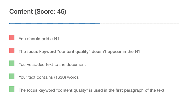 Content analysis tool showing content score