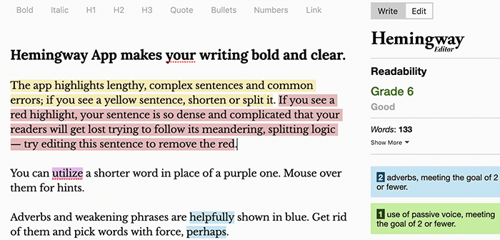 Example of Hemmingway text tool