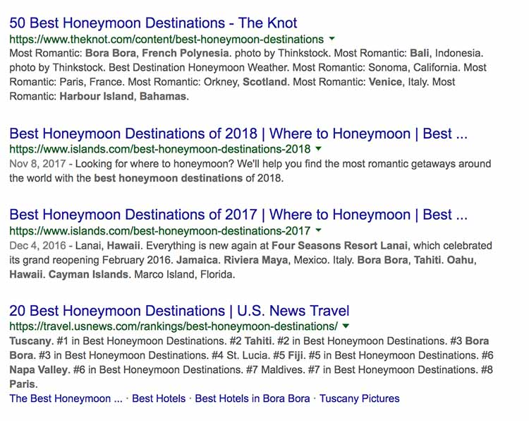 Search results for best honeymoon destinations