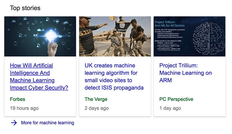 Examples of articles listed in Google carousel