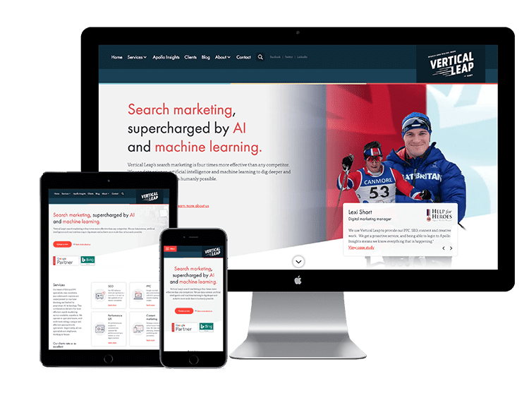 vertical leap website on 3 devices