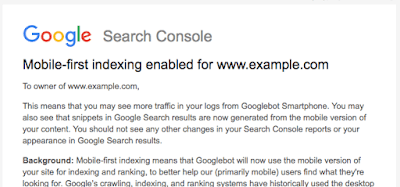 Google search console showing mobile-first indexing has been enabled