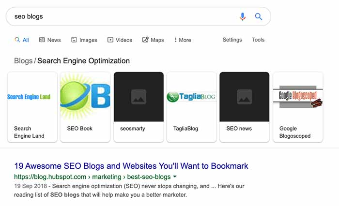 Google search for SEO blogs