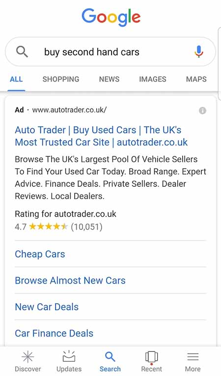 """PPC mobile SERP example """"buy second hnd cars"""""""